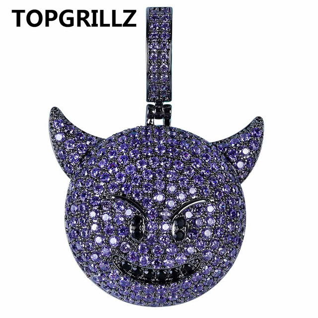 TOPGRILLZ Personality  Iced Out Cubic Zircon Plated Demon Dog Monkey Heart Smile Pendant &Necklace Hip Hop Jewelry For Gifts
