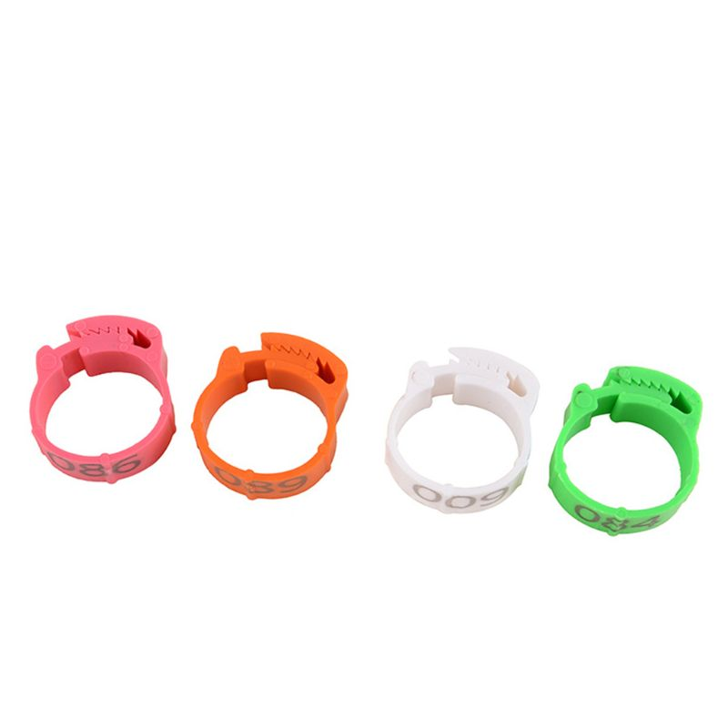 100pcs Plastic Open Type Buckle Chicken Duck Goose Digital Foot Ring Poultry Leg Ring