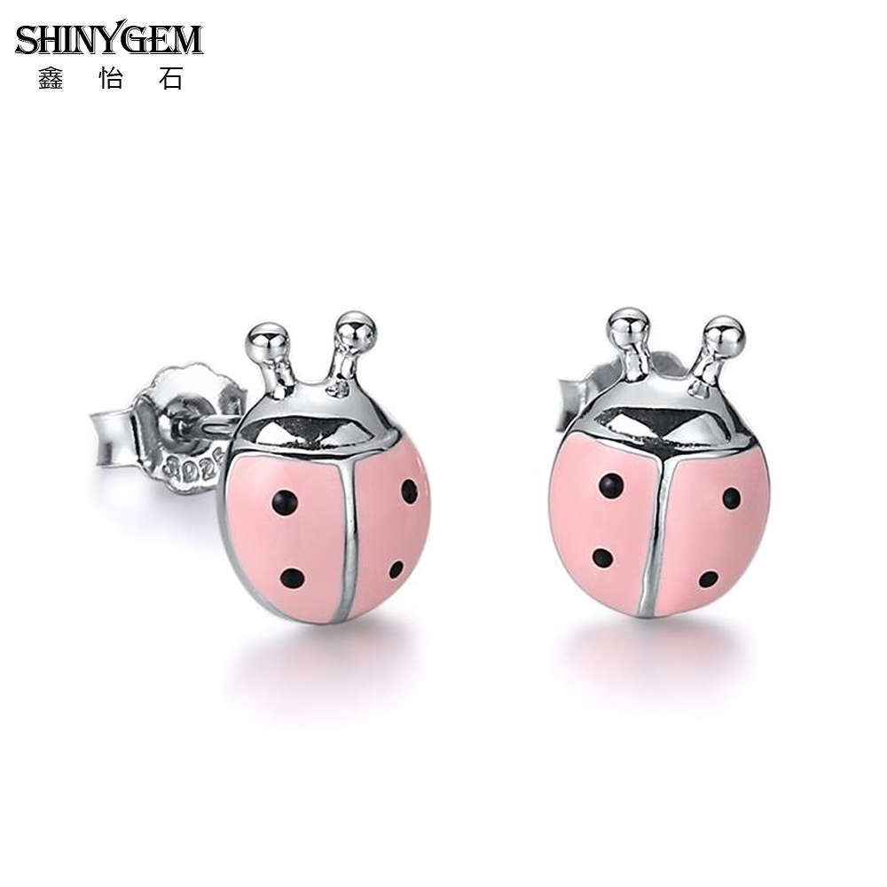 ShinyGem Fashion 9mm Exquisite Small Cute Ladybug Stud Earrings Pink/Red Charm Insect Ladybug Style Earrings For Women Girl Gift