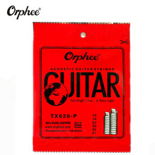Orphee TX620-P 010-047 Acoustic Guitar Strings Red Cooper 99% Pure Cooper Anti-Rust Coat Hexagonal core+8% nickel Extra Light martin m170 80 20 bronze round wound extra light acoustic guitar strings 010 047