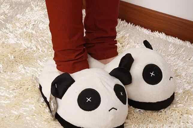 Winter Vrouwen Platte Slippers Warm Animal Pluche Slippers Vrouwelijke Huis Vloer Mode Comfort Schoenen Paar Plus Size Schoeisel Panda