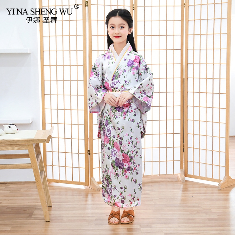 Children Kimono Japanese Bathrobe Girls Princess Dress Temperament Lovely Bowknot Yukata Printed Children's Kimono Leisure Dress