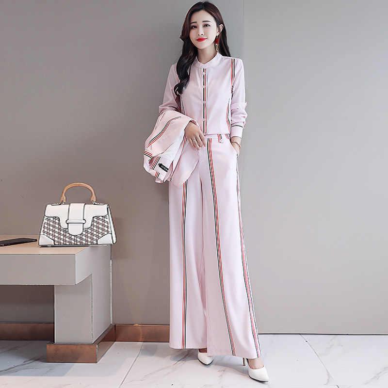 2020ファッションの女性のエレガントなストライプビジネススーツ事務服スカート女性のためのブレザーシャツパンツセット3点スイート