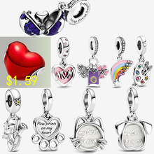 Clear inventory 100% Real Silver Color Beads Red and Purple Love Heart Charm fit Original pandora Bracelets Women DIY Jewelry
