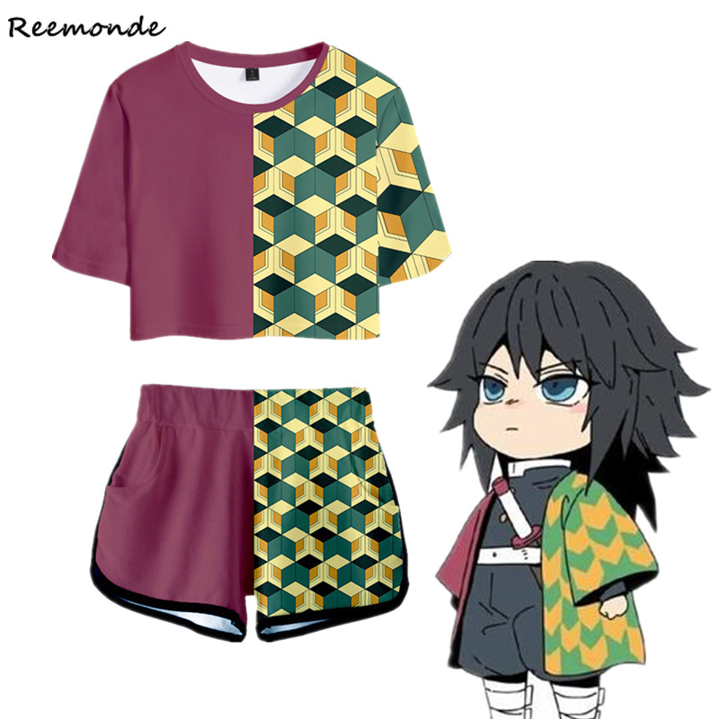 Demon Slayer Shirt Shorts Sport Shorts Kimetsu No Yaiba Cosplay Women Suits Kamado Tanjirou Running Top Shorts Outfit Girls Set