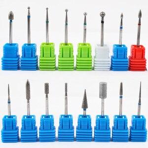 Image 1 - 1 sztuk wiertła z węglika wolframu Nail Art 17 rodzaje 3/32 frezowanie Manicure frez do Pedicure urządzenie elektryczne obrabiarki gratowania