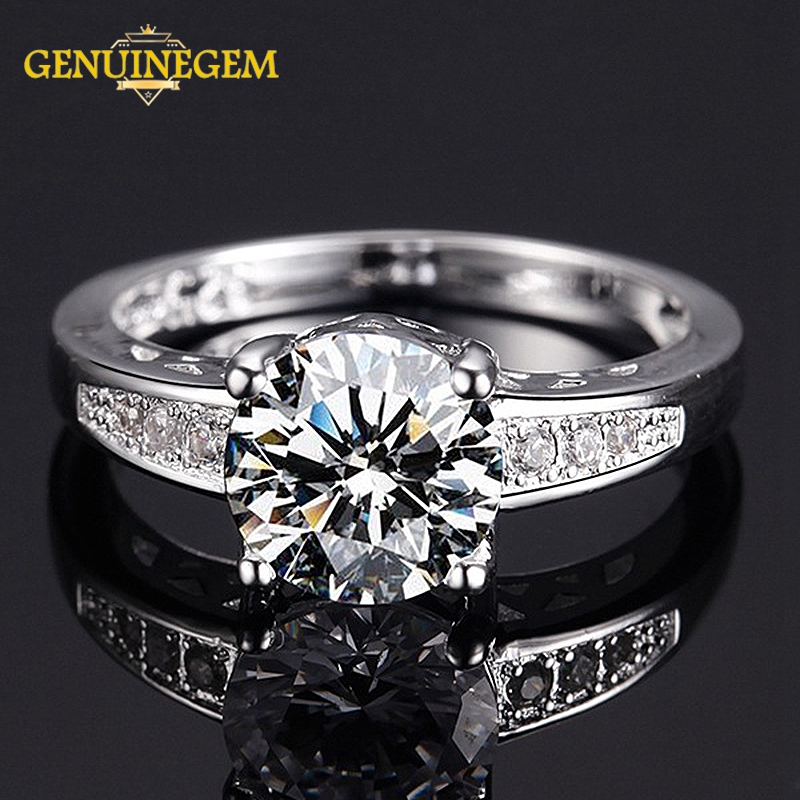 GENUINEGEM Elegant Silver 925 Jewelry AAA Cubic Zirconia Wedding Engagement Cocktaill Rings For Women Men Fashion Fine Jewelry