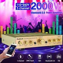 HIFI Stereo Power Amplifier 2000W 110V 220V 5 Channel Equalizer bluetooth 5.0 Car Amplifier