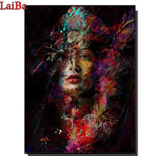 Diamentowe malowanie DIY diamentowe hafty streszczenie kobieta twarz diamentowe malowanie cross stitch prezent dekoracja mozaika z kryształami