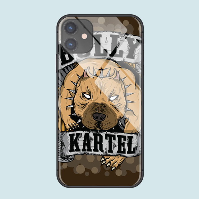 American Bully Dog Anime for iPhone SE 6 6s 7 8 plus X XR XS 11 12 mini Pro Max tempered glass phone cases cover soft silicone