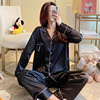 Women's pajamas set long sleeves, autumn and winter sleep clothes in silk satin with pants