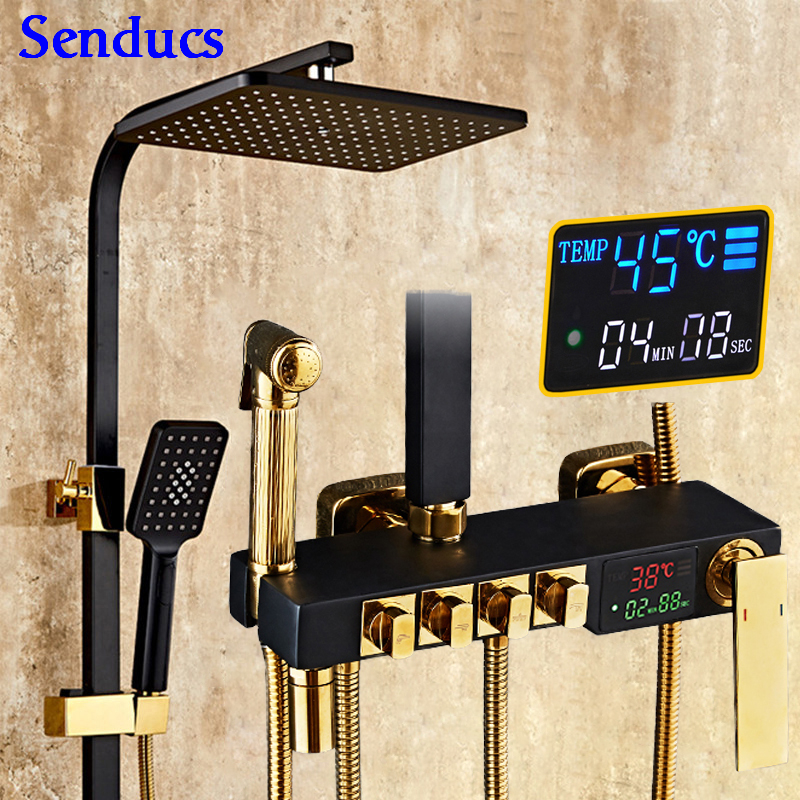 Digital Shower System Senducs Bathroom Fixture Quality Brass Bathroom Faucets Function Black Gold Thermostatic Shower Set