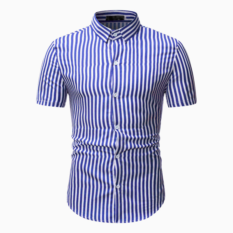 Casual Shirt Men Stripe Print Slim Fit Top Male Fashion Party Dress Short Sleeve Shirts Summer New 2020