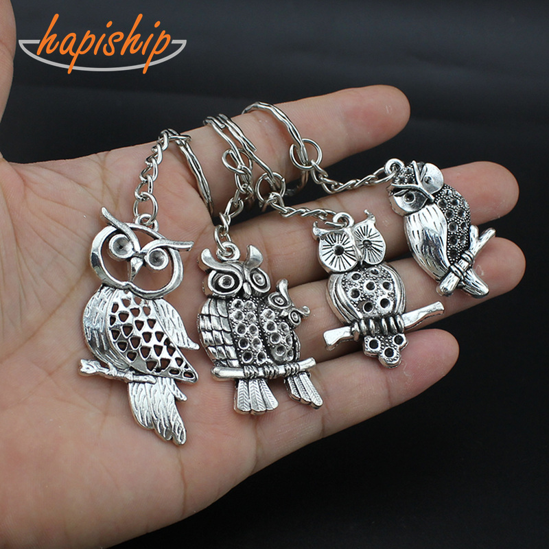 Hapiship 2017 New Women/Men's Fashion Vintage Silver Hollow Out Owl Key Chains Key Rings Alloy Charms Gifts YSDY168 Wholesale