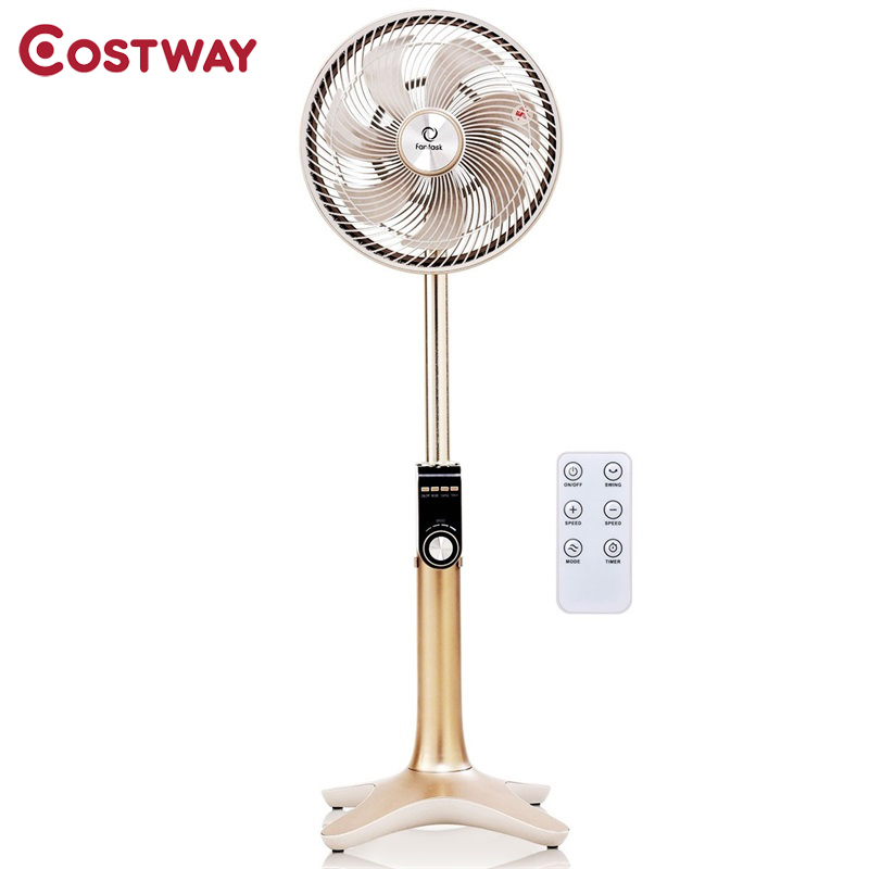 "Costway High Quality 10"" 24-Speed 3 Mode Height Adjustable Remote Control Pedestal Fan with 12-inch Oscillating Head EP23435"