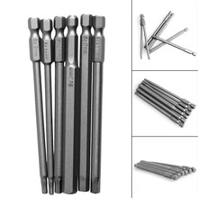 "6Pcs/Set T2.5-T8 100mm Magnetic Torx Screwdriver Bits 1/4"" Hex Shank(China)"