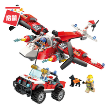 ENLIGHTEN City Police Bricks Firefighter Forest rescue Helicopter Firemen Aircraft Building Blocks Sets Kids Toys Gifts