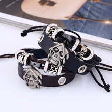 2019 Genuine Leather Women Men Bracelet Bangle Alloy Silver Skull Accessories Fashion Adjustable Jewelry Gift