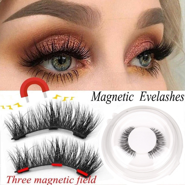 3D Magnetic Eyelashes with 3 Magnets Magnetic Lashes Natural Long False Eyelashes Magnet Eyelash Extension Makeup Tools