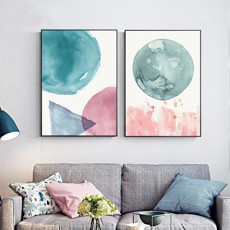 Abstract Nordic Watercolor Pink And Blue Round Canvas Printing Poster Frameless Painting For Modern Living Room Decoration  - buy with discount