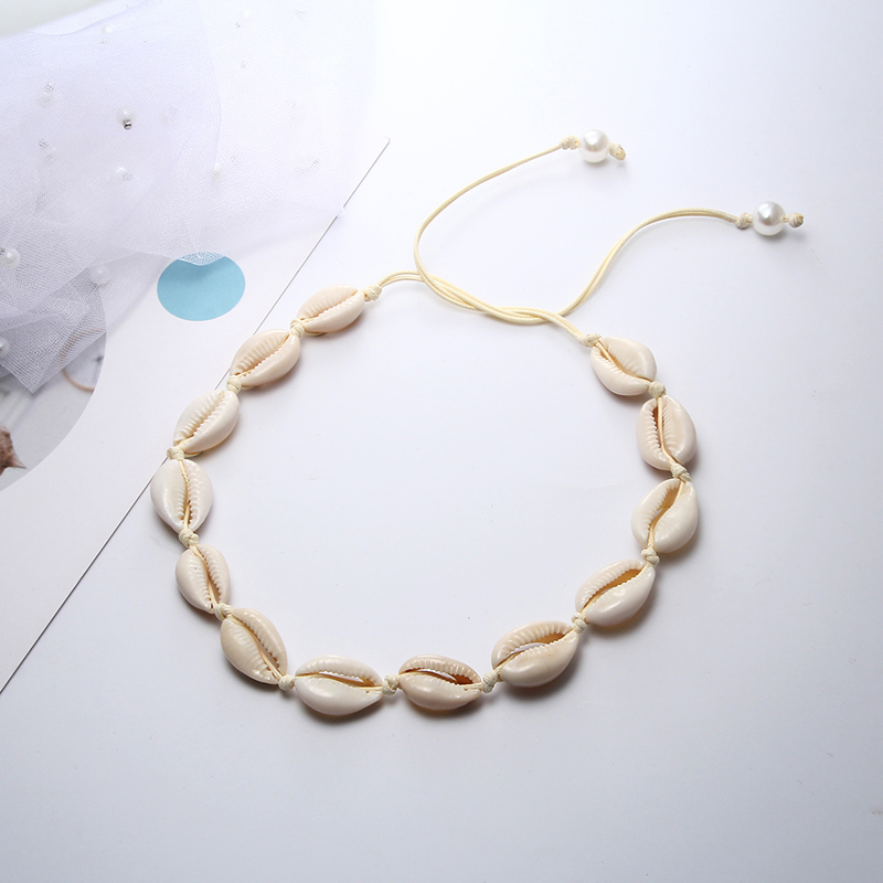 Bohemian Seashell Necklace Natural Shell Necklaces Unique Hand Knit Choker Female Shell Jewelry Best Friend Beach Strand Gifts