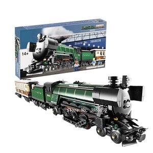 В наличии с коробкой, 1109 шт., подходит для серии 21005 Technic, изумрудная ночь, модель поезда, комплект для сборки блоков, совместимые с конструкто...