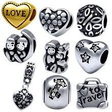 Chegada nova moda aço inoxidável coração encantos talão caber pandora charme braceletsjewelry fazendo para as mulheres, spb1301