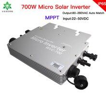 700W mikrobilgisayar şebeke bağlantılı güneş invertörü MPPT 24V 36V mikro saf sinüs dalga dönüştürücü 110V 220V AC için ev akıllı invertör