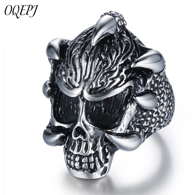 OQEPJ Vintage Lord Of The Antique Rings Stainless Steel Black Cat Dark Souls Animal Men Jewelry Silver Color High Quality Ring in Rings from Jewelry Accessories