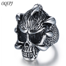 OQEPJ Vintage Lord Of The Antique Rings Stainless Steel Black Cat Dark Souls Animal Men Jewelry Silver Color High Quality Ring
