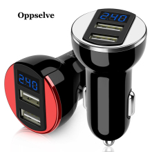 Oppselve Mini LED USB Car Charger For Mobile Phone Tablet 2.4A Fast Charge Car-Charger Dual Adapter in