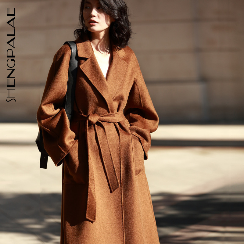 SHENGPALAE 2020 hiver haute qualité pardessus deux côtés cachemire pardessus laine vêtements amples femme cachemire Trench Coat A69