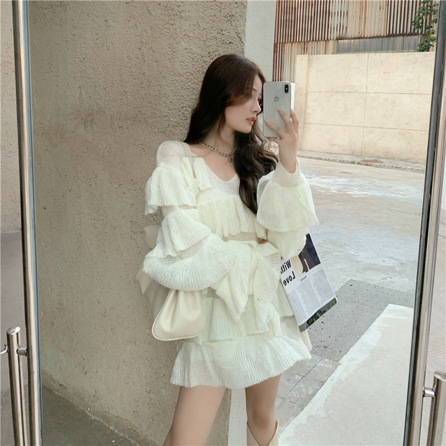 Платье женское трикотажное многослойное милый свободный пикантный