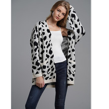 Fashion Leopard Sweater Cardigan Women Knitwear Loose Spring Winter Knitted Long Cashmere for E1948