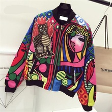 New Queen Embroidery Bomber Jacket Women Harajuku Cat Pilot Jacket