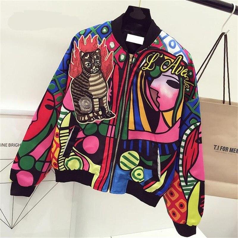 Nueva chaqueta de bombardero con bordado de Reina para mujer chaqueta de piloto de gato Harajuku chaqueta de béisbol básica de impresión Casual chaqueta de abrigo de jaqueta