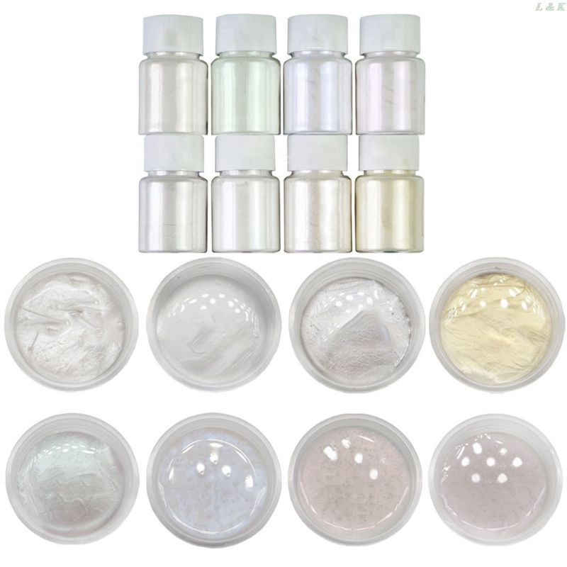 8 Pcs/set Pearlescent Powder Handmade Jewelry Making Filling Material Crystal Mud Pigment DIY Epoxy Filler PXPC