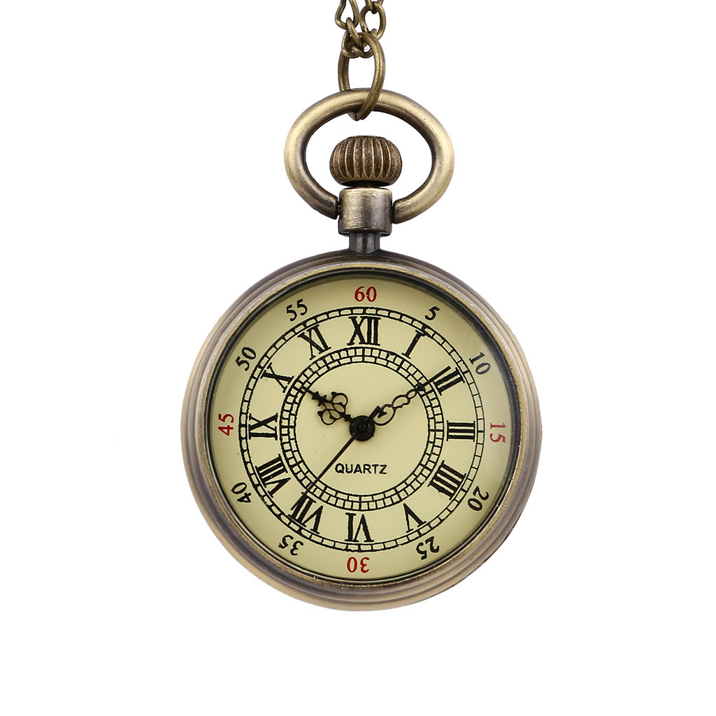 Vintage Round Quartz Small Pocket Watch Classical Roman Scale Pocket Watch Man Woman Kid Gift Necklace Clock Couple Old Man XQ