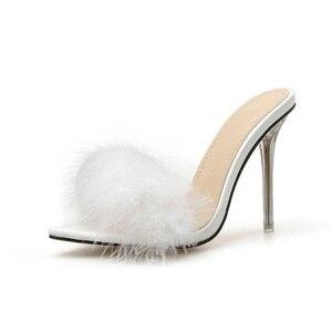 Image 2 - Kcenid zapatos de PVC con punta abierta para mujer, zapatillas femeninas de tacón alto transparente con plumas, en color blanco, 2020