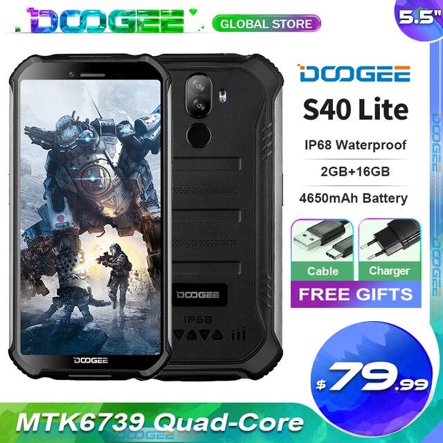 """Doogee S40 Lite sağlam cep telefonu 2GB 16GB dört çekirdekli 5.5 """"ekran 4650mAh 8.0MP yüz kimliği parmak izi kimlik Smartphone"""