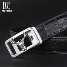 McParko Crocodile Belt Genuine Leather automatic belt Men Elegant Deer Design Business Formal Waist Luxury Suit Pant Srtaps