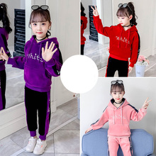 Sport Suit for Girls Clothing Set Flannel Letter Print Hooded Pullover Tracksuit Kids Girls Outfits Teenage Sweatsuit Clothes