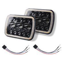 цена на 7 Inch For Jeep Wrangler 500W 30000LM LED Headlights 5X7/7X6 Led Beam Headlamp Led Headlight Angel Eyes with Halo