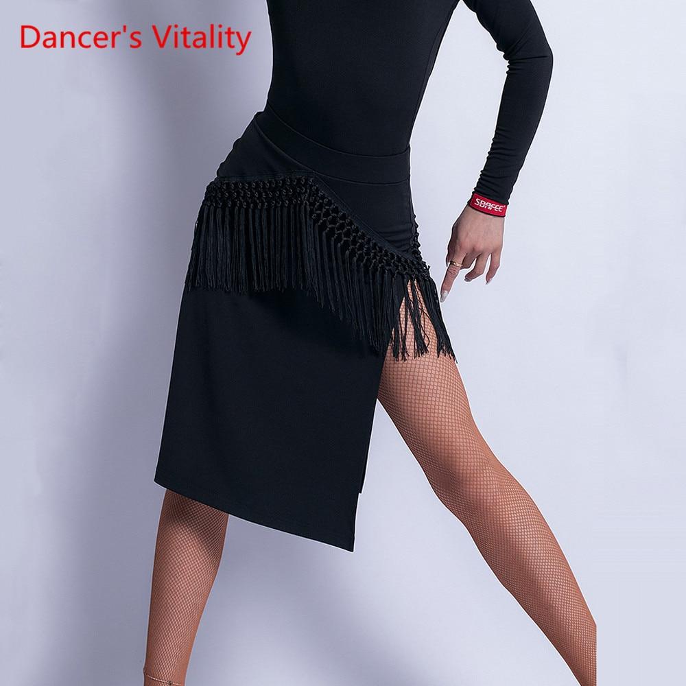 Latin Dance New Female Adult Sexy Skirt Performance Training Dance Wear Tassel Slit Profession Exercise Clothing