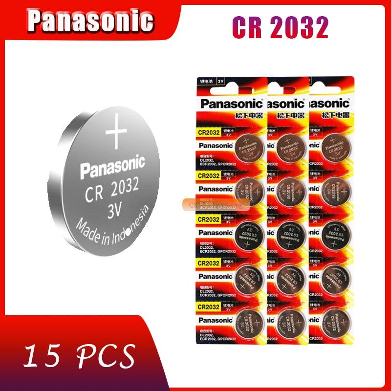 15 х Оригинальный Новый аккумулятор для PANASONIC cr2032 3 в, кнопочные элементы, монетные батареи для часов, компьютера cr 2032