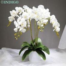 Índigo-9 unids/lote de orquídeas de arreglo de flores con hojas de toque Real mesa de flores fiesta de boda evento decorativo envío gratis