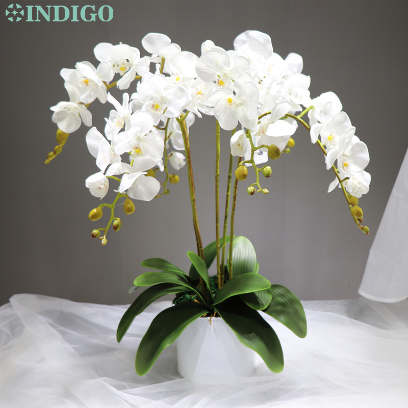 Индиго-1 набор цветок орхидеи аранжирование с горшком настоящий сенсорный Цветочный декор для офисного стола Свадебная вечеринка событие о...