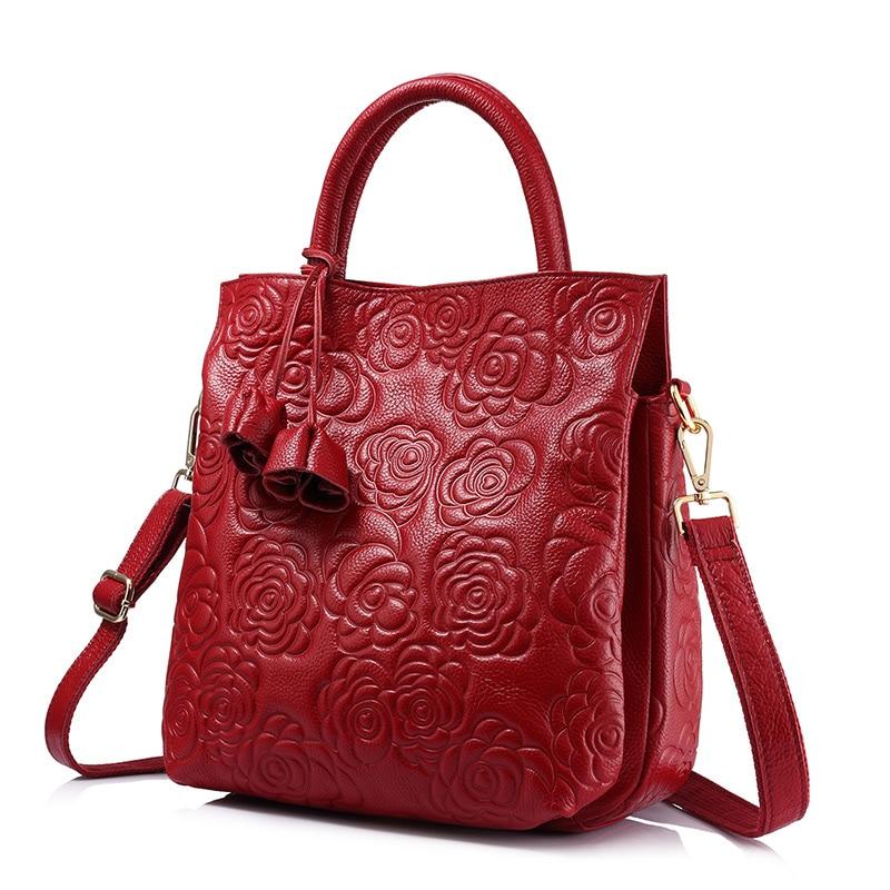 REALER Crossbody Genuine Leather  Woman Handbag  Leather Black Tote Bag High Quality Floral Embossed Handbag Ladies Shoulder Bag