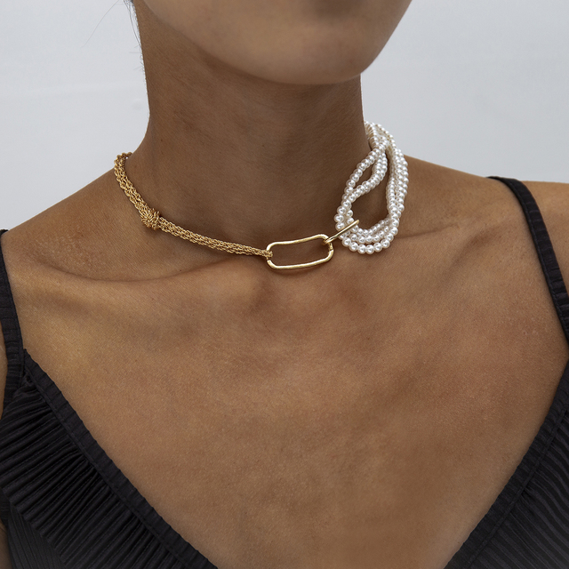 Chunky Thick Twist Chain Necklace  Gothic Multi Layered Imitation Pearl 2