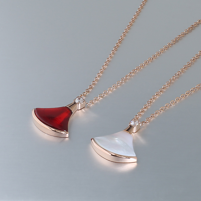 High Grad Fan <font><b>Skirt</b></font> Shell Fashion Jewelry Necklace Pendant Sets Female Neck Titanium Steel <font><b>Rose</b></font> <font><b>Gold</b></font> Jewel Women Girl Female image